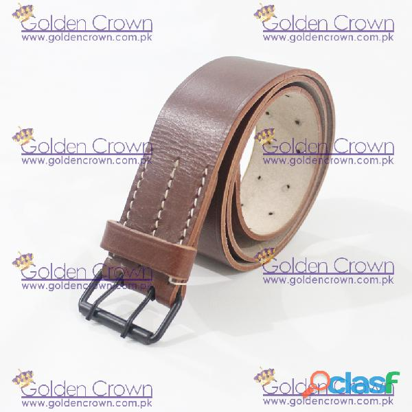 WWI French Brown Leather Field Equipment Belt 0
