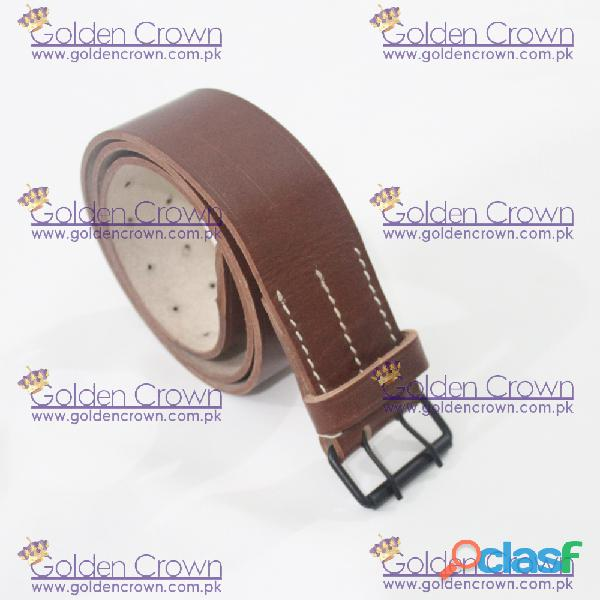 WWI French Brown Leather Field Equipment Belt 4