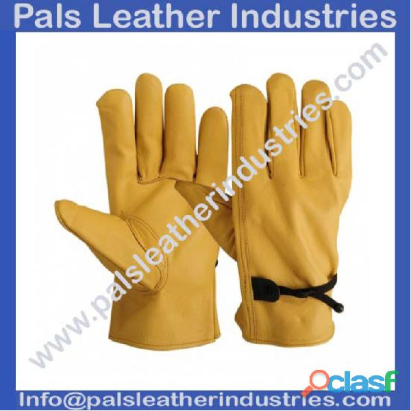 Yellow Leather Working Gloves
