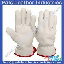 Leather working gloves green and half white