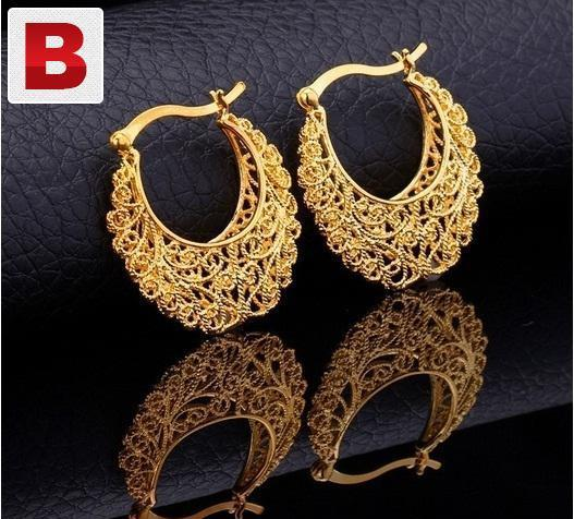 18k real gold plated vintage platinum earrings