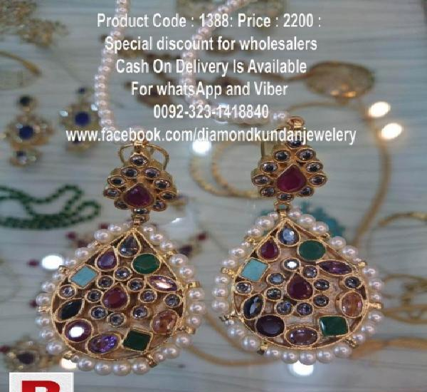 24 carat gold plated kundan earrings in real zircones (whole