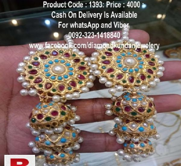24 carat solid gold plated beautiful earrings for party wear