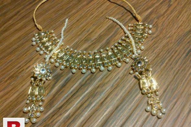 24 carat solid gold plated hand made thappa kundan necklace