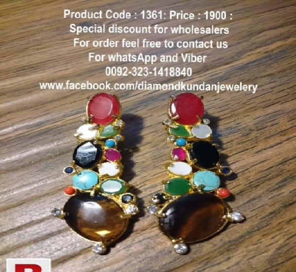Beautiful multi colored earrings in 24 carat gold plating in