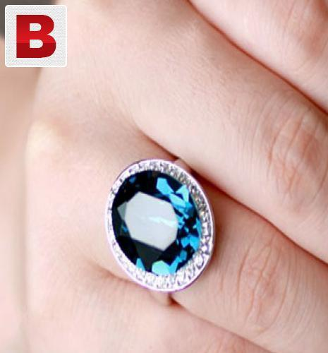 Big blue swarovski crystal 18k white gold plated ring pg536