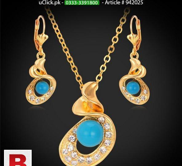 Blue pearl gold plated earrings necklace set