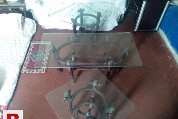 Center table and 2 side tables with glass top
