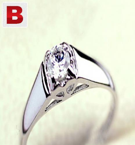 Diamond style crystal 18k white gold plated ring