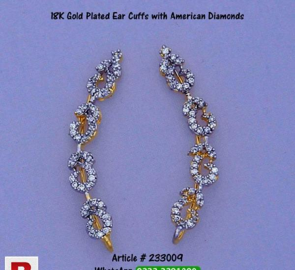 Ear cuffs gold plated with american diamonds