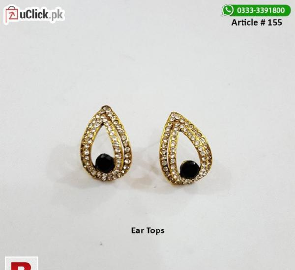 Ear tops black stone