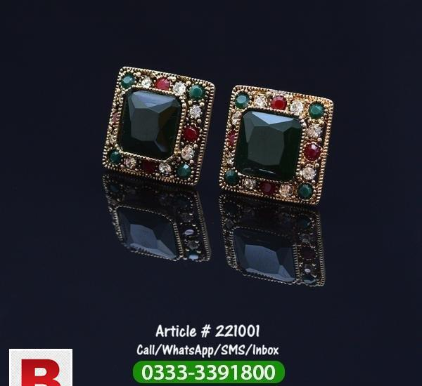 Ear tops multi color with big green stone