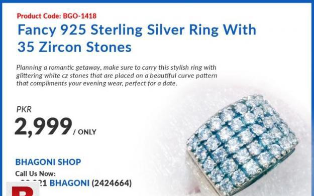 Fancy 925 sterling silver ring with 35 zircon stones