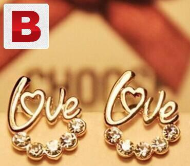 Fashion jewelry love gold earrings