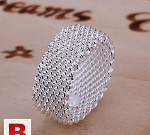 Fine fashion silver net ring