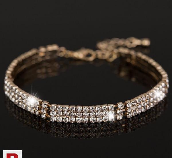 Full rhinestone crystal gold plated bracelets bangles for