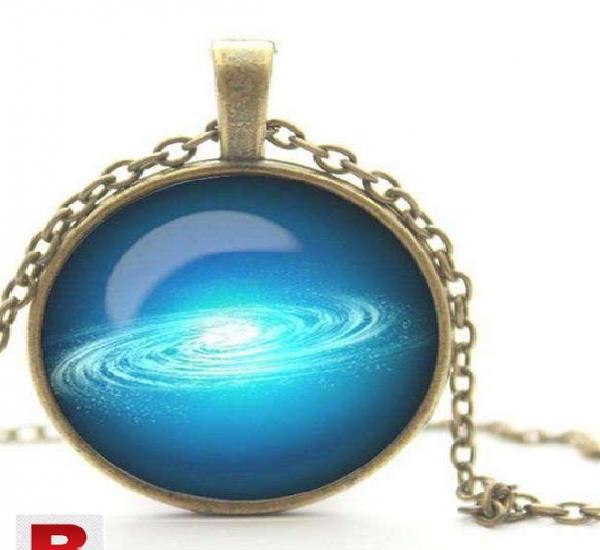 Galaxy pendant necklace glass cabochon necklace antique