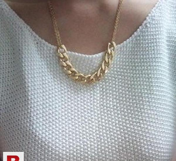 Gold plated bohemian style atmosphere metal thick chain