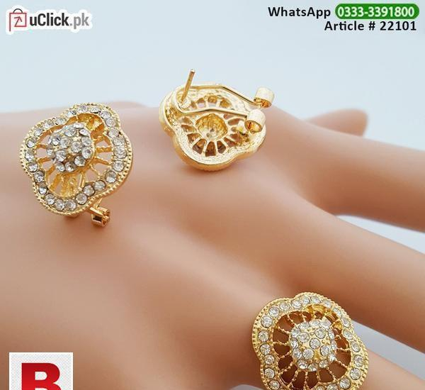 Gold plated ear tops & finger ring with 1k american diamonds