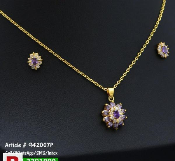 Gold Plated Necklace + Earrings Set with Purple and White