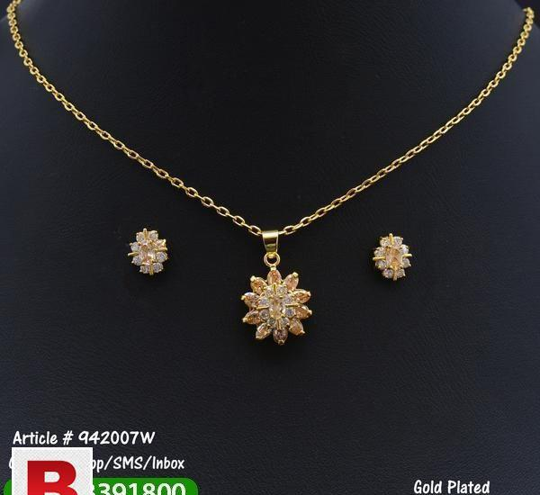 Gold plated necklace + earrings set with white stones