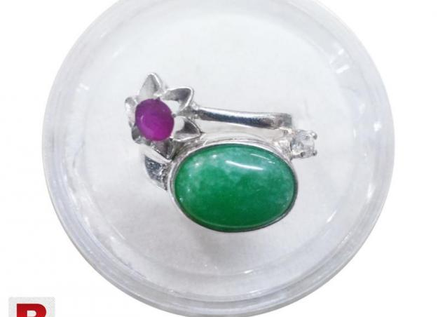 Green aqeeq with purple & zircon stone silver ring