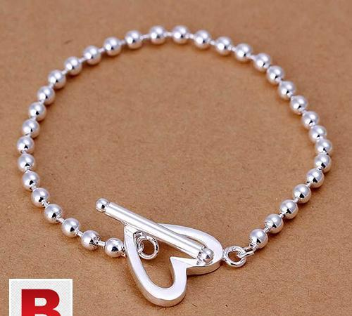 Heart shape sterling silver fashion jewelry bracelet