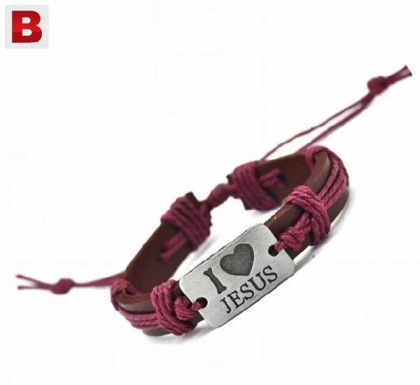 I love jesus rope leather bracelet