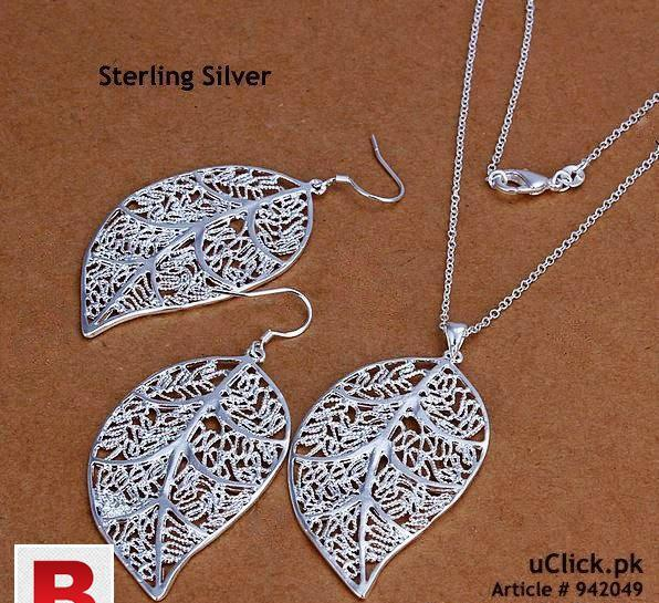 Leaf shape sterling silver jewelry set