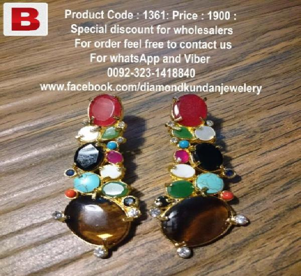 Multi-colored beautiful earrings in latest design 2015