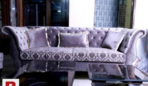 New drawing room sofa set | seven seater in fabric | curve