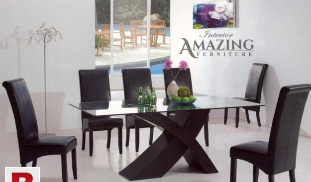 New modern dining table | six full cushion chairs | imported