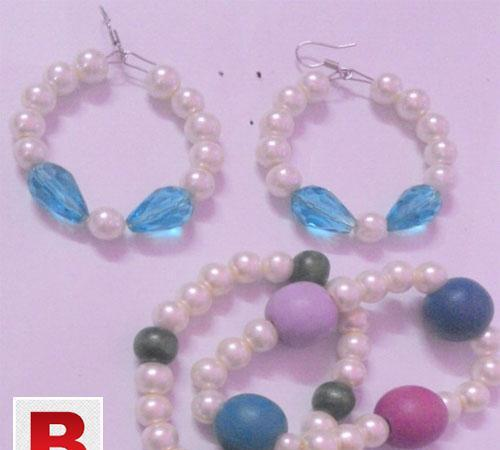 Pack of 3 white pearl blue beats earring+white pearl