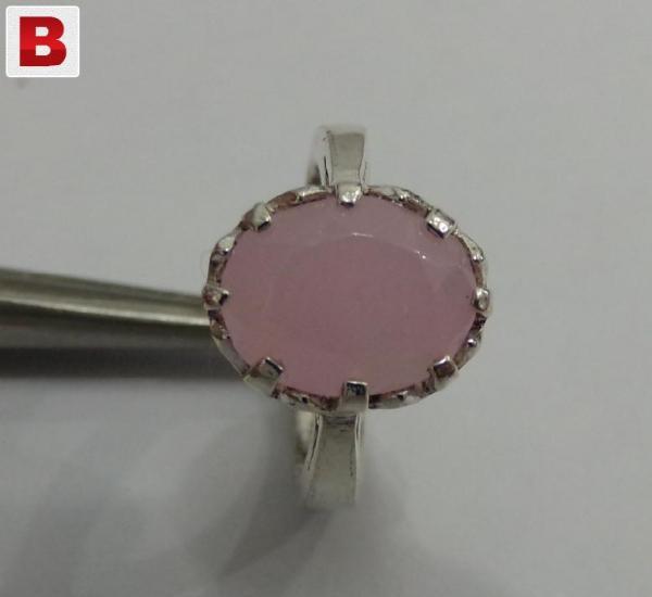 Rose quartz (pink) gemstone silver ring