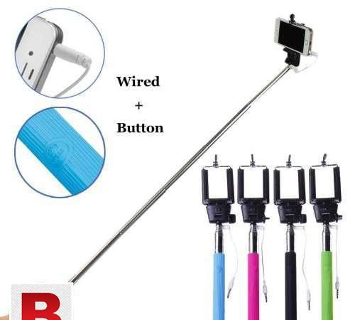 Selfie stick with builtin button