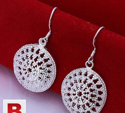 Silver drop fashion jewelry round earrings