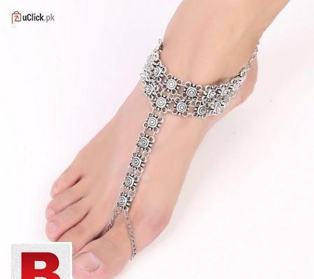 Silver flower anklet bracelet