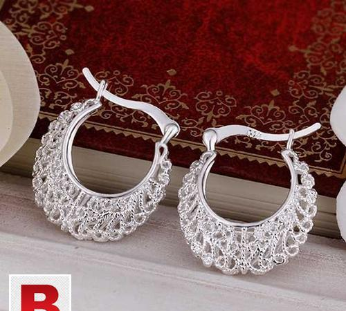 Silver plated fashion jewelry earrings