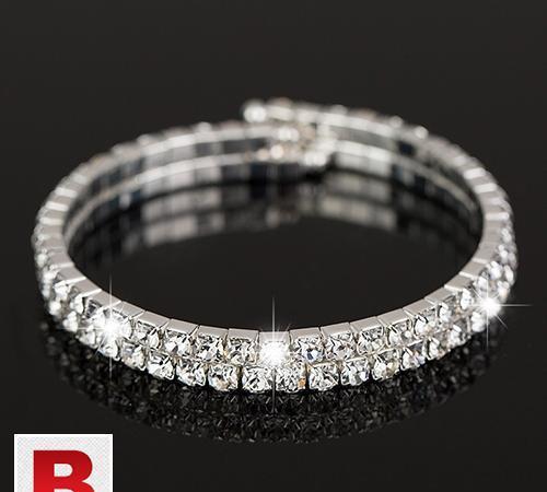 Sliver plated fashion clear austrian crystal wrist 2 row