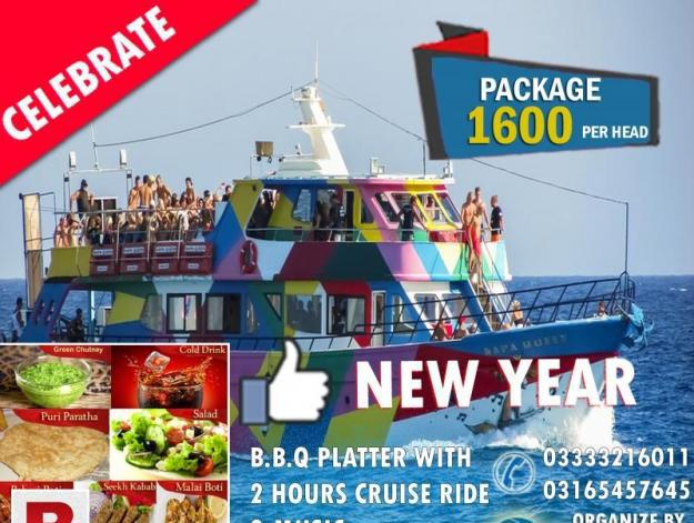 Special offer for new year 2 hours cruise ride with b.b.q