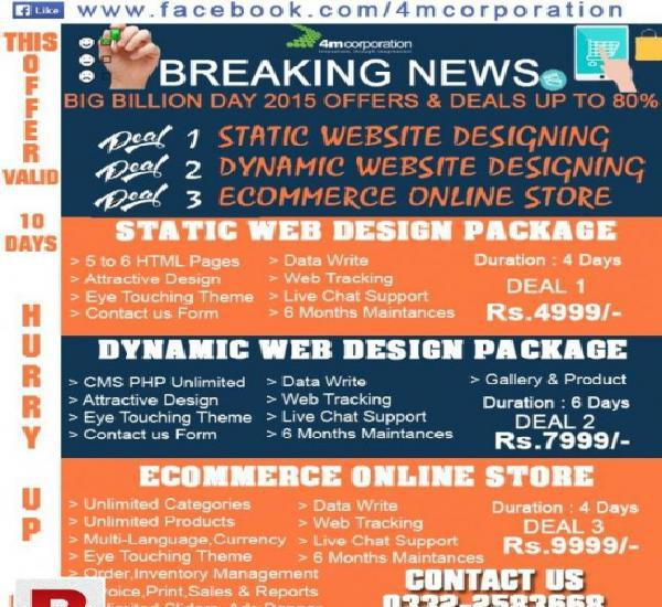 Static and dynamic web design package,ecommerce online store
