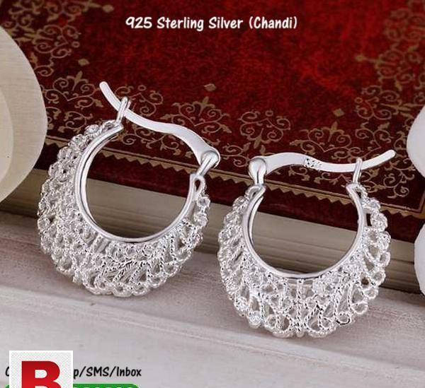 Sterling silver openwork flower ear rings