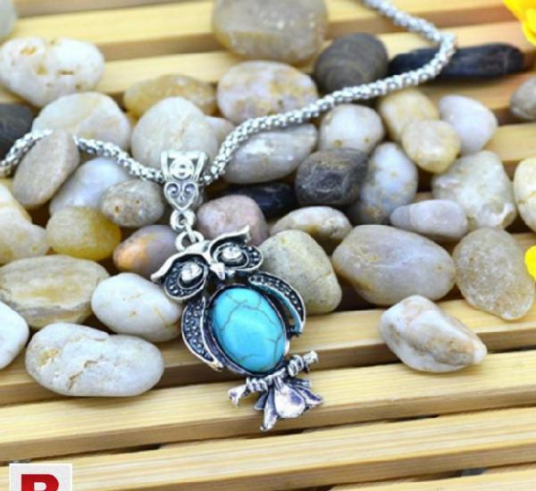 Tibetan silver turquoise stone owl collars crystal chain