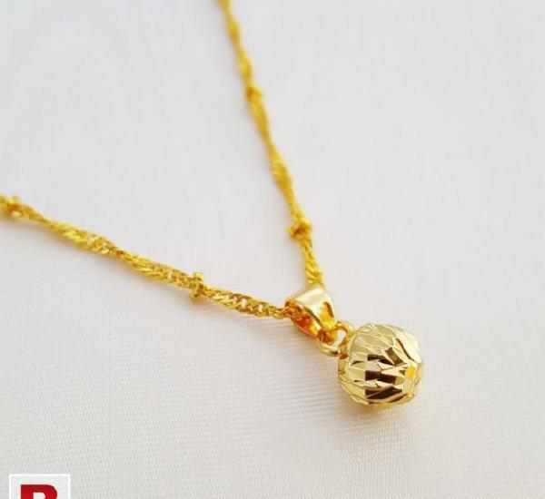 Trendy ball pendant necklace gold plated
