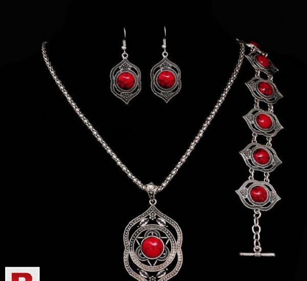 Turquoise Jewelry Set Tibetan Silver Plated Fashion Jewelry