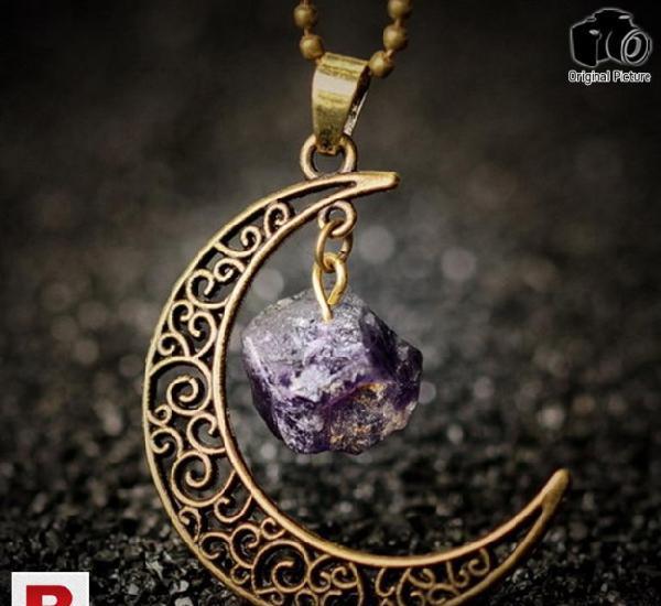 Vintage moon necklace irregular natural stone pendant