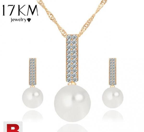 Women fashion jewelry set necklace earrings simple simulated