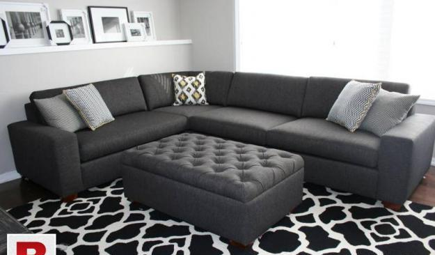 New modern l shape sofa set six seater with centre puffy.