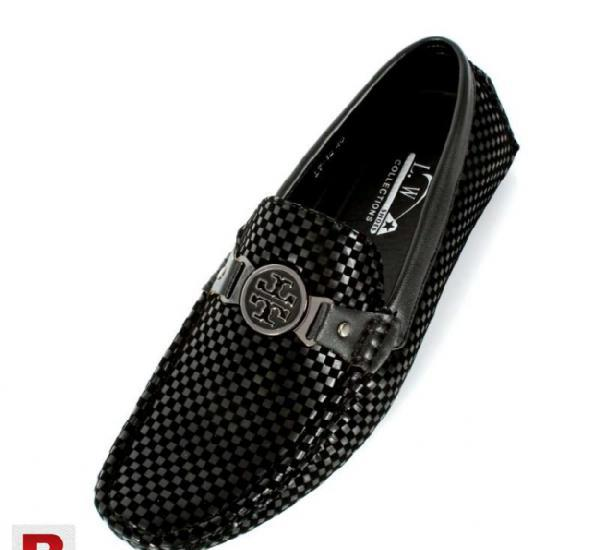 Black checkered design loafers shoes