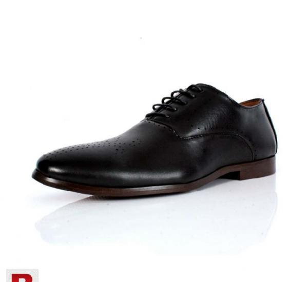 Black dotted stiched design formal shoes